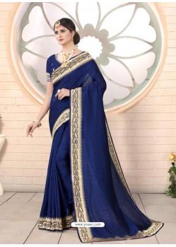 Royal Blue Designer Party Wear Vichitra Bloming Silk Sari