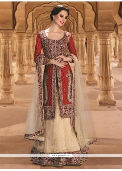Stunning Gold And Red Resham Work Net A Line Lehenga Choli