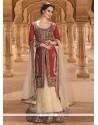 Stunning Gold And Red Resham Work Net A Line Lehenga Choli