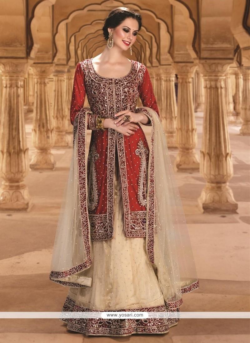 535731c9696 Shop online Stunning Gold and Red Resham Work Net A Line Lehenga Choli
