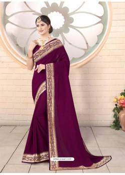 Purple Designer Party Wear Vichitra Bloming Silk Sari