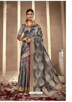 Grey Latest Designer Party Wear Silk Sari