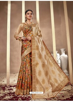 Mustard Latest Designer Party Wear Silk Sari