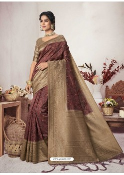 Maroon Designer Party Wear Jacquard Silk Sari