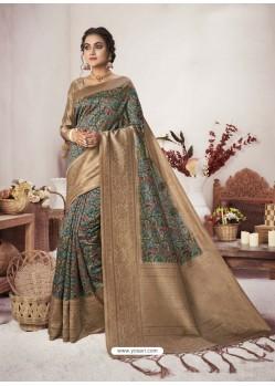 Teal Designer Party Wear Jacquard Silk Sari