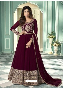 Deep Wine Latest Designer Heavy Embroidered Party Wear Anarkali Suit