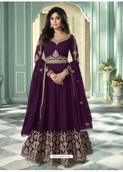 Purple Latest Designer Heavy Embroidered Party Wear Anarkali Suit