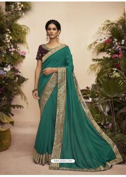 Teal Designer Party Wear Chanderi Silk Sari