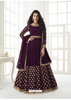 Purple Latest Designer Real Georgette Party Wear Anarkali Suit