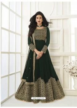 Dark Green Latest Designer Real Georgette Party Wear Anarkali Suit