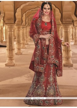 Modest Red Resham Work Net A Line Lehenga Choli