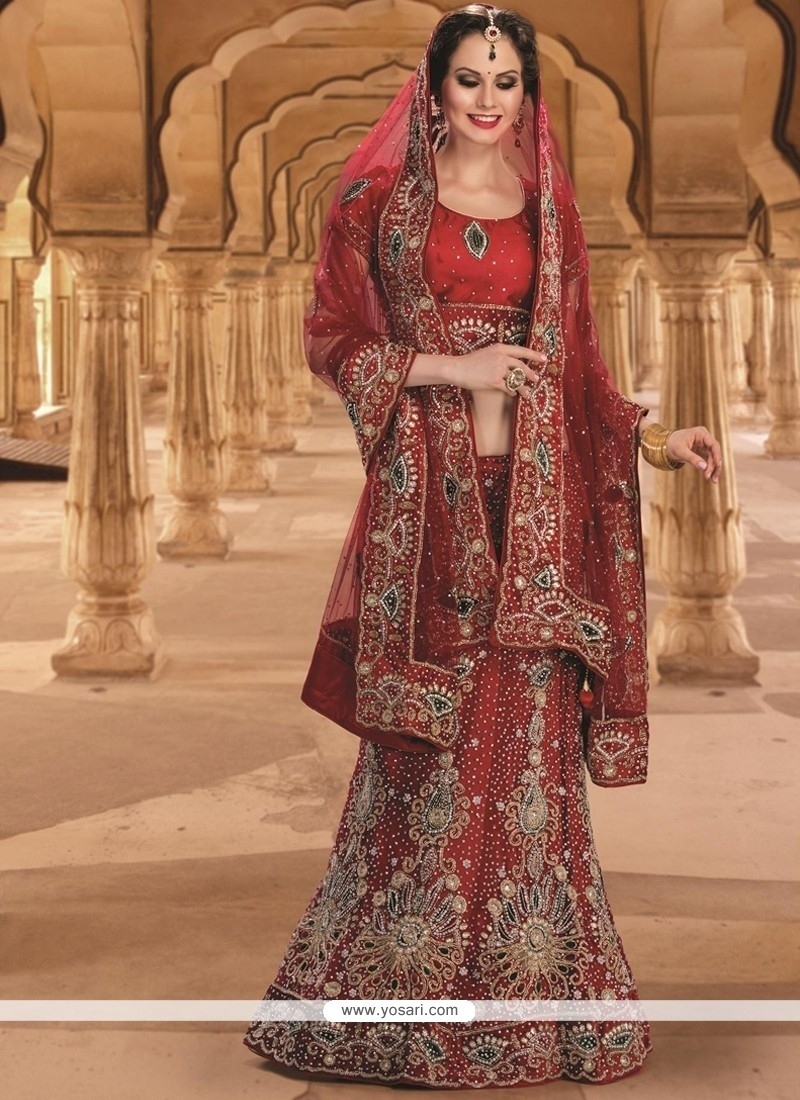 985e455448 Shop online Modest Red Resham Work Net A Line Lehenga Choli