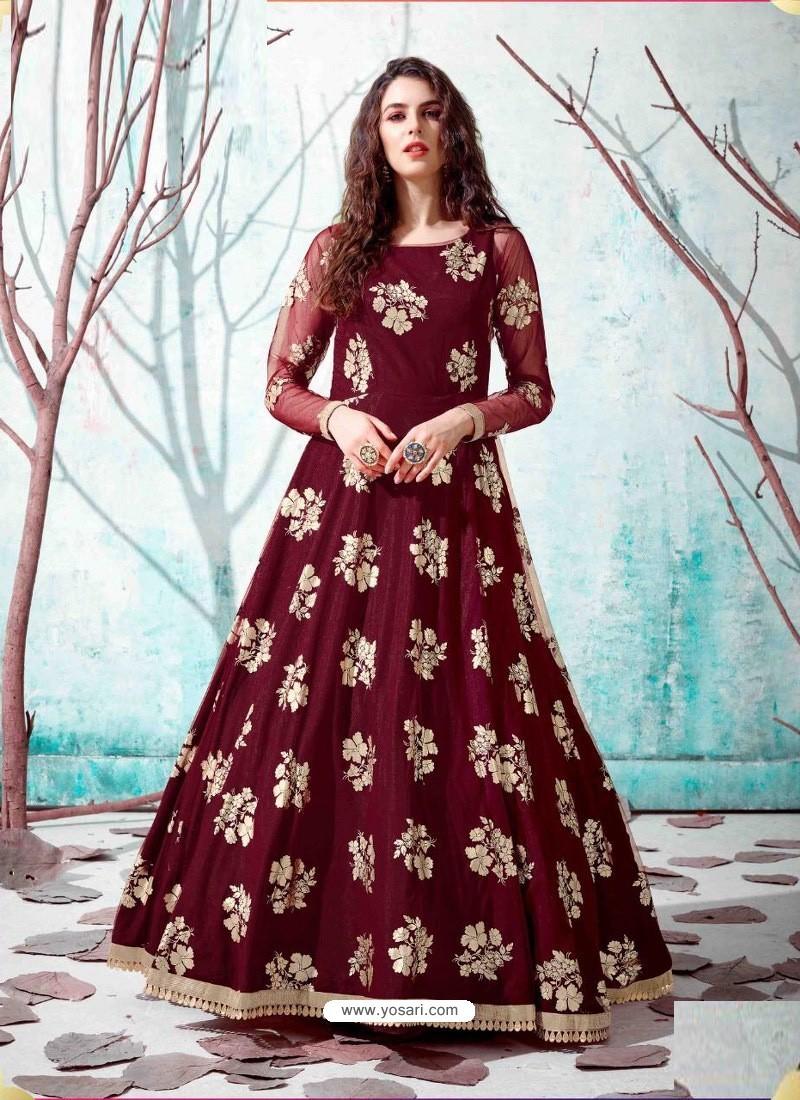 Maroon Stunning Designer Party Wear Gown
