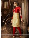 Priyanka Chopra Red And Golden Silk Churidar Suit