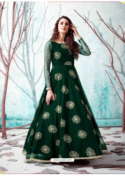 Dark Green Stunning Designer Party Wear Gown