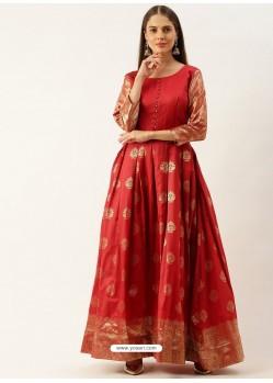 Red Designer Party Wear Readymade Long Kurti