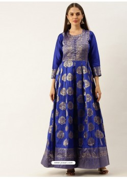 Royal Blue Designer Party Wear Readymade Long Kurti