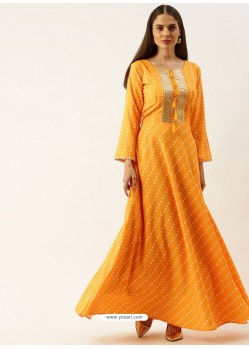 Yellow Designer Party Wear Readymade Long Kurti
