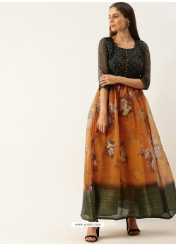 Multi Colour Designer Party Wear Readymade Long Kurti