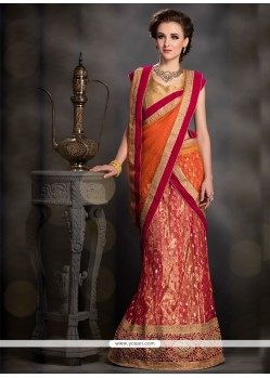 Nice Net Orange A Line Lehenga Choli