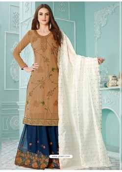 Beige Latest Heavy Designer Party Wear Gerogette Suit