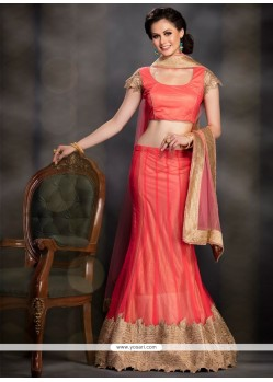 Capricious Net Orange Embroidered Work A Line Lehenga Choli