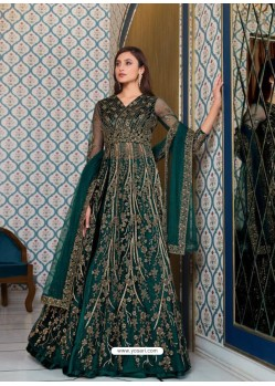 Teal Elegant Latest Designer Net Party Wear Anarkali Suit
