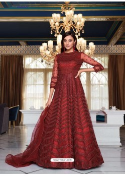 Maroon Elegant Latest Designer Net Party Wear Anarkali Suit