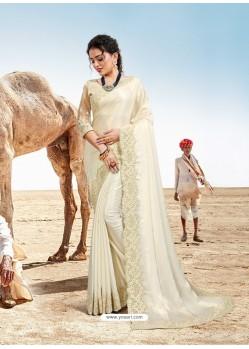 Off White Latest Designer Party Wear Fancy Sari