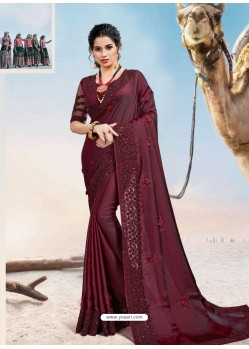 Maroon Latest Designer Party Wear Fancy Sari