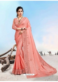 Peach Latest Designer Party Wear Fancy Sari