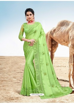 Green Latest Designer Party Wear Fancy Sari