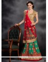 Mystical Net Red And Sea Green Embroidered Work A Line Lehenga Choli