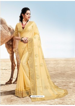 Cream Latest Designer Party Wear Fancy Sari