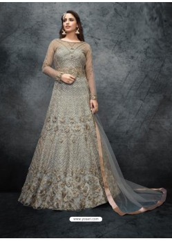 Grey Elegant Latest Designer Net Party Wear Anarkali Suit