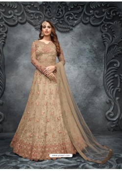 Beige Elegant Latest Designer Net Party Wear Anarkali Suit