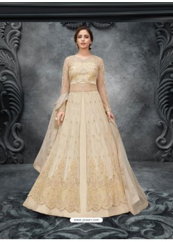 Off White Elegant Latest Designer Net Party Wear Anarkali Suit