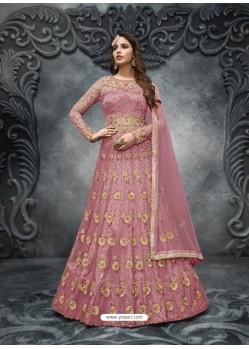 Light Pink Elegant Latest Designer Net Party Wear Anarkali Suit