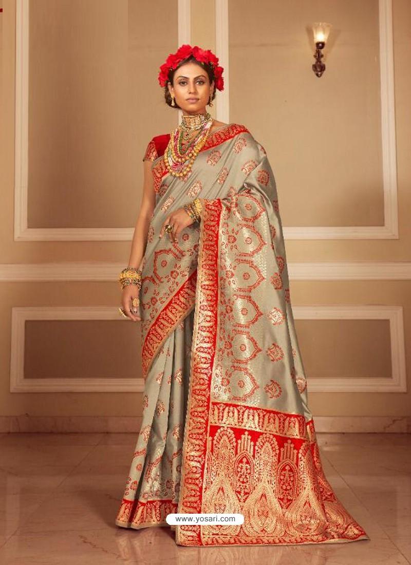 Taupe Latest Designer Party Wear Banarasi Silk Sari