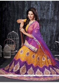 Yellow Zari Work A Line Lehenga Choli