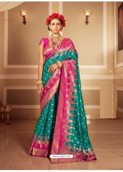 Turquoise Latest Designer Party Wear Banarasi Silk Sari