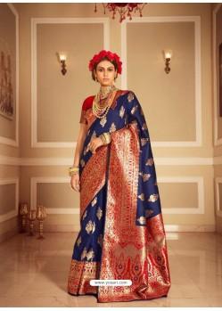 Dark Blue Latest Designer Party Wear Banarasi Silk Sari