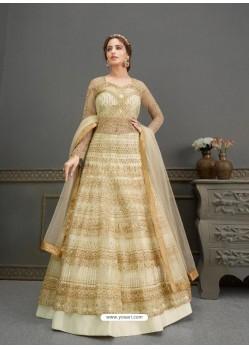Off White Elegant Latest Designer Net Party Wear Anarkali Suit