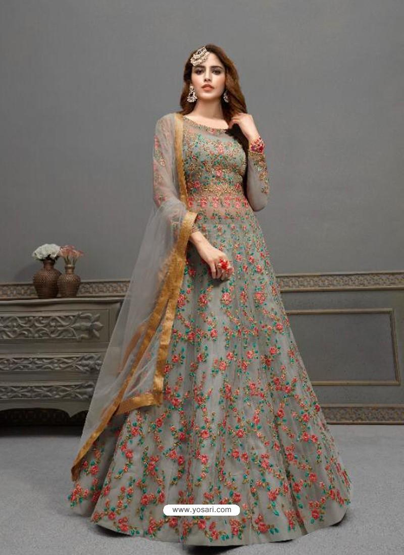 Grey Elegant Latest Designer Net Party Wear Anarkali Suit