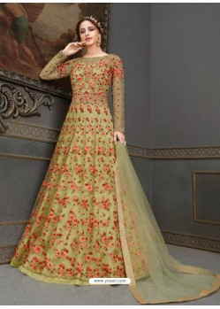 Green Elegant Latest Designer Net Party Wear Anarkali Suit
