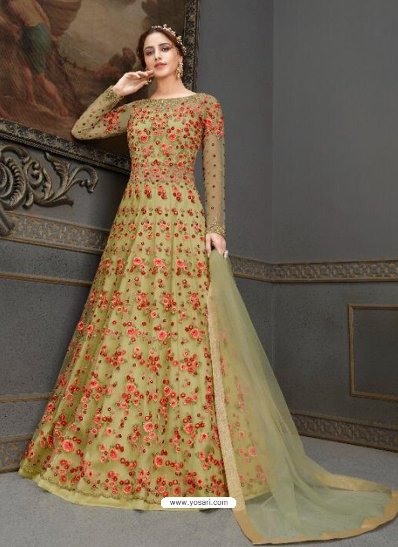 Green Elegant Latest Designer Net Party Wear Anarkali Suit