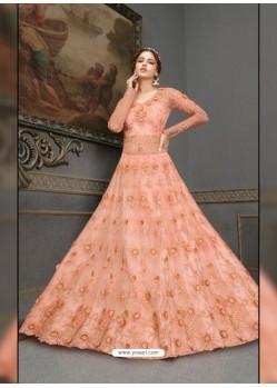 Light Orange Elegant Latest Designer Net Party Wear Anarkali Suit