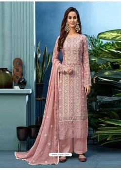Pink Latest Heavy Designer Party Wear Pure Muslin Suit