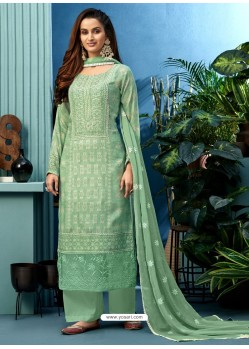 Sea Green Latest Heavy Designer Party Wear Pure Muslin Suit