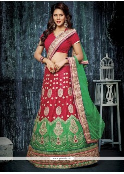 Beautiful Net Red A Line Lehenga Choli